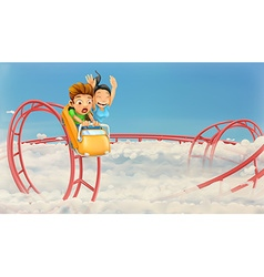 Roller coaster in the clouds background vector