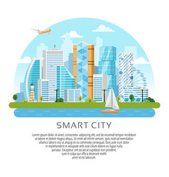 Round style city skyscrapers landscape vector