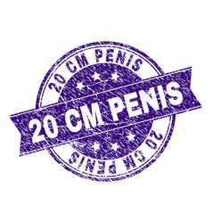 Scratched textured 20 cm penis stamp seal vector