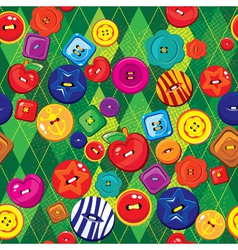 Seamless background with colorful sewing buttons vector image