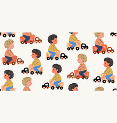 Seamless pattern with boys playing kids toys cars vector