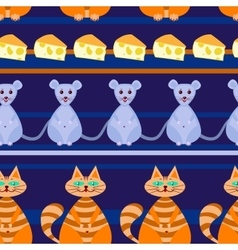 seamless pattern with Catmousecheese vector image
