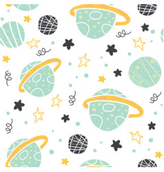 seamless pattern with doodle planets and stars vector image
