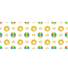 seamless pattern with sun umbrellas beach balls vector image