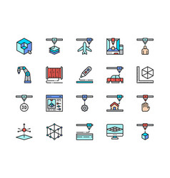 Set 3d printing color line icons 3d modeling vector