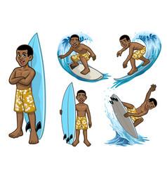 set cartoon black young surfer vector image