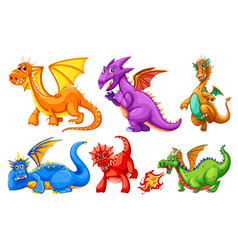 set dragon character vector image