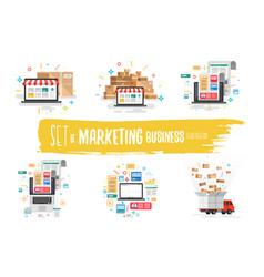 set marketing business vector image
