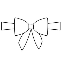 Silhouette satin center ribbon and bow wrapping vector