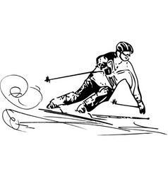 Skiing sketch vector