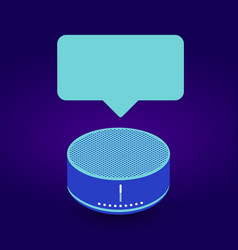 smart speaker assistant device with bubble text vector image
