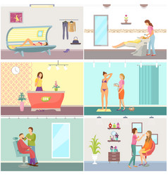 spa salon receptionist and tanning set vector image