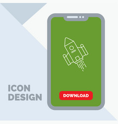 Space craft shuttle space rocket launch line icon vector