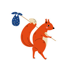 Squirrel travelling with bundle on stick animal vector