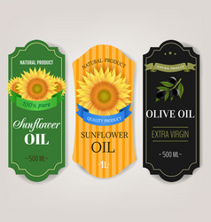 Sunflowers and olive oils labels big set isolated vector
