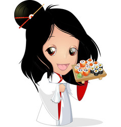 Sushi chef at the restaurant vector