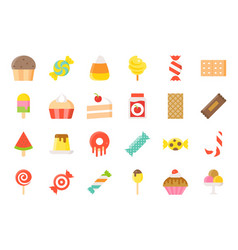 sweets and candy icon set 22 flat style vector image