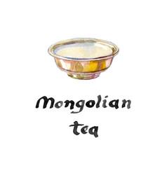 tea cup of silver bowl for mongolian salt tea vector image