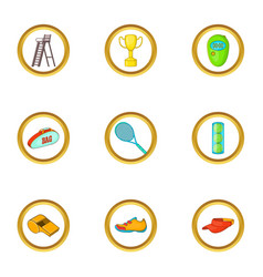 tennis tournament icons set cartoon style vector image