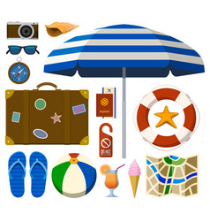 traveling set with tourist and beach accessories vector image