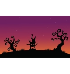 Tree monster halloween silhouette backgrounds vector image