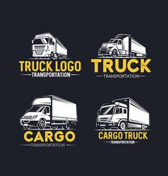Truck logo set transportation monochrome style vector
