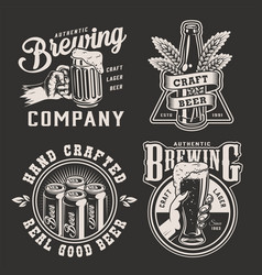 vintage brewing monochrome logotypes vector image