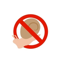 Warning sign with snail icon isometric 3d style vector image