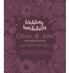 Wedding invitation with hand drawn flowers leaves vector image
