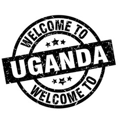 welcome to uganda black stamp vector image