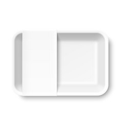 white empty styrofoam food tray with blank label vector image