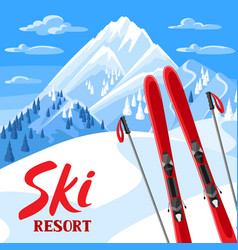 winter landscape with skiing equipment snowy vector image