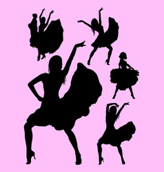 young passionate woman dancing flamenco silhouette vector image