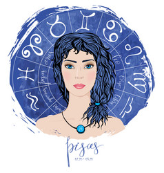 zodiac signs pisces in image beauty girl vector image