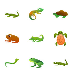Zoo reptile icon set cartoon style vector