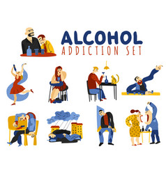 alcohol addiction icons set vector image vector image