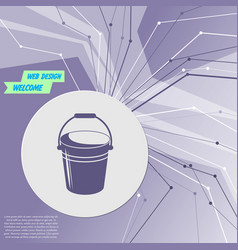 bucket icon on purple abstract modern background vector image vector image