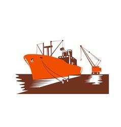 Passenger Cargo Ship with Crane vector image vector image