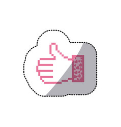 pink silhouette sticker of pixel thumb up and vector image