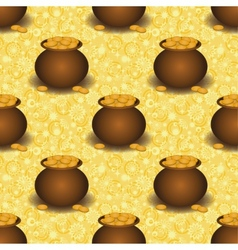 Seamless background pots with gold vector image vector image
