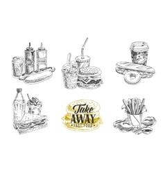 set of fast food in sketch vector image vector image