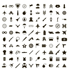 100 military icons set simple style vector image