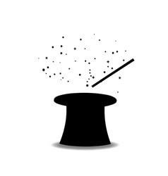 black silhouette of magical cylinder top hat and vector image