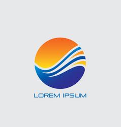 circle arrow wave business logo vector image