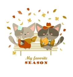 Couple of cats sitting on bench reading books and vector image vector image