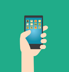 hands hold smartphone with multimedia application vector image vector image