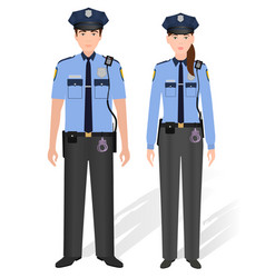 police officers male and female isolated on white vector image