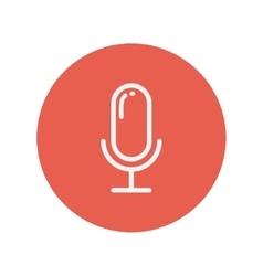 Retro microphone thin line icon vector image