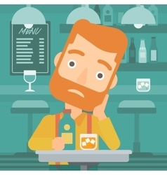 Sad man with bottle and glass vector image vector image