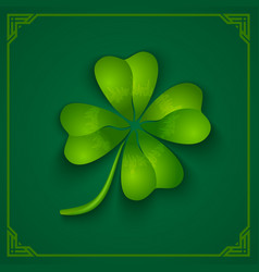 3d clover on green background vector image